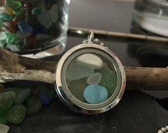 Irish Sea Glass Locket - Mermaid's Tears