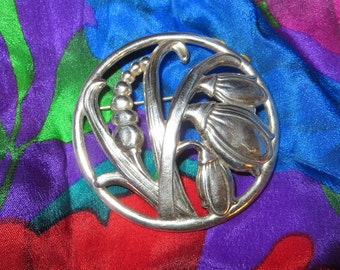 "Lang Round Flower Sterling Silver Pin Brooch 2"" Diameter"