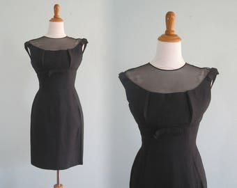 Sexy 60s Little Black Wiggle Dress - Vintage Black Shantung Cocktail Dress - Vintage 1960s Dress S