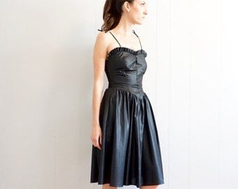 HOLIDAY SALE vintage RETRO black Wet look ruffle tie strap Party dress S-M
