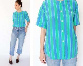 vintage 90s SILK blue + green STRIPED blouse S-M