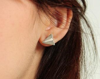 origami - paper plane earrings in sterling silver