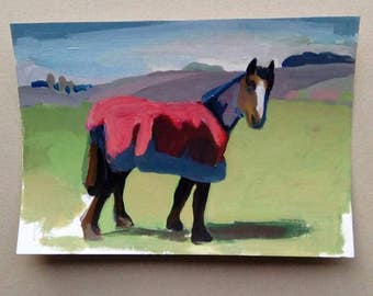 Horse with new coat- original acrylic painting- SALE
