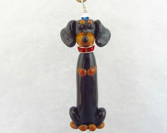 Dachshund Pendant - Ornament - Lampwork Glass Beads SRA