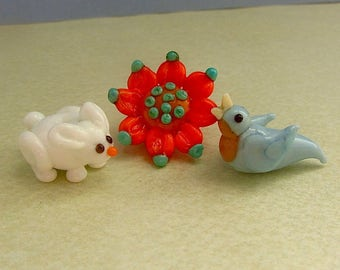 Bunny, Bird, and Flower Lampwork Bead Set - Handcrafted Beads SRA