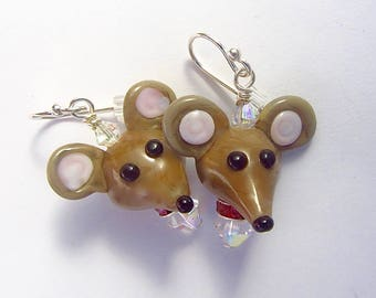 Mouse Earrings - Handmade Lampwork Glass Bead Art SRA