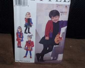 Style 2218 Children Dress Color Blocked and Bag  Size 2 - 7  New - Uncut