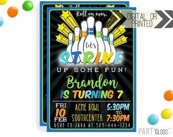 Neon Bowling Birthday Invitation | Digital or Printed | Bowling Invitation | Neon  Boy Bowling | Neon | Glow In The Dark Bowling | Glow