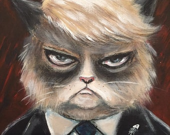 TRUMPY CAT  limited edition giclee PRINT by Nina Friday