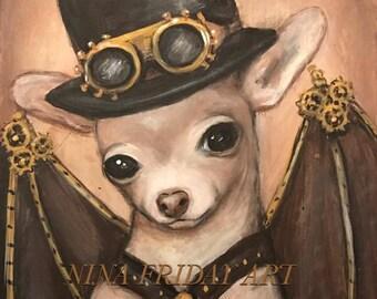 NACHO the Amazing Flying Dog Steampunk lowbrow print by NINA FRIDAY