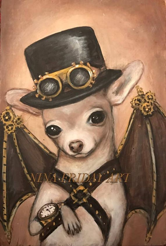 NACHO the Amazing Flying Dog Steampunk lowbrow print by NINA FRIDAY by ninafriday steampunk buy now online