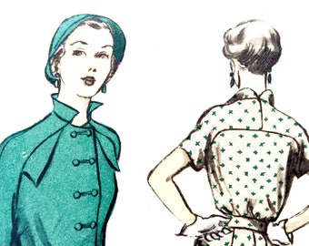 Factory Folded Unused Advance 5408 50s Dress, Double Front Buttons, Stand-up Collar, Flap Pockets Vintage Sewing Pattern Bust 38