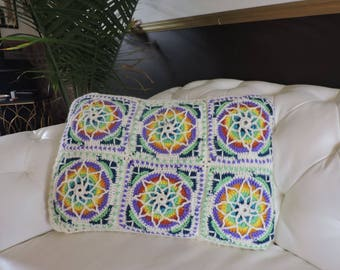 Stained glass crochet bed pillow 32 x 16 made with natural bamboo