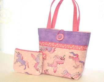 Sweet Unicorn Little Girls Purse Coin Purse Set Mini Tote Bag Childs Purse Lavender Purple Pink Timeless Treasures Fabric Handmade MTO