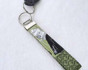 The Ghastlies Fabric Wristlet Key Fob Key Ring Fabric Keychain Handmade Ghastlie Ghastly Physician Doctor with Monocle Mold Green Black GNG