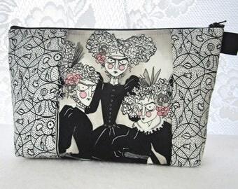 X Large Ghastlies Fabric Cosmetic Bag Zipper Pouch Padded Makeup Bag Zip Pouch Victorian Grislie Sisters Black White Ghastlie Gallery GGM