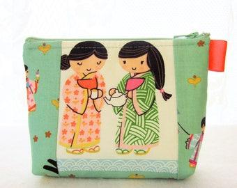Kawaii Japanese Girls Cats Cosmetic Bag Fabric Zipper Pouch Makeup Bag Alexander Henry Fabric Gadget Pouch Indochine A Chan Mint Orange
