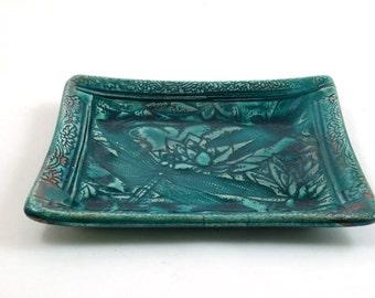 Dragonfly SOAP DISH-tray-catch  all-raku- Ceramic Pottery