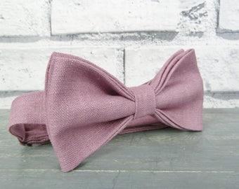Linen Bow Tie - Dusky Pink, Wedding Bow Tie, Groomsman Bow Tie