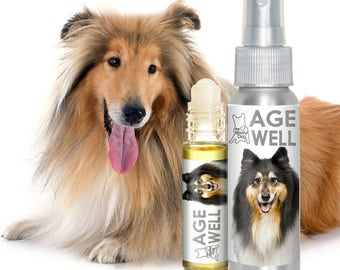 Collie AGE WELL Dog Aromatherapy All Natural, Handcrafted Spray and Roll-On Essential Oil Support for Your Senior Dog's Mental Health