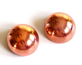 Vintage RENOIR Copper Modernist Dome Clip Earrings, Renoir Earrings, Copper Earrings, Mid Century Copper, Copper Jewelry, Renoir Jewellery