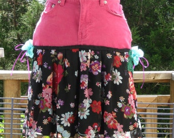 Fuchsia Denim Floral OOAK Boho Skirt