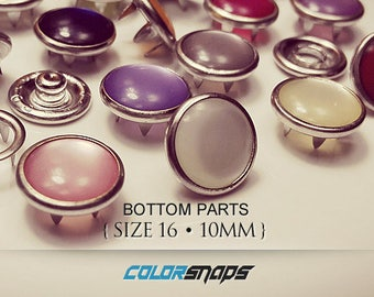 20 COLORS • Pearl Snap Button • Size 16 • Size 18 • 7/16 • Western • Fastener • Snaps • Prong • No Sew • Decorative • Pearlized • Metal