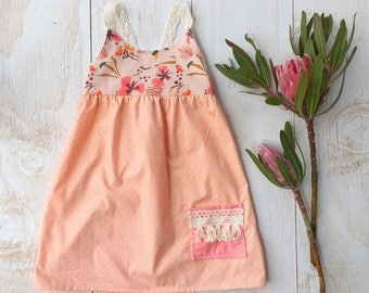 Girls dress - Boho Lace Stappy Dress with Tropical Tiger Lily Print and Fringe Trim Pocket - Made in Maui, Hawaii by bitty bambu