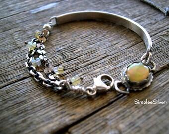 RESERVED  -  Artisan Jewelry  -   Bangle Bracelet  -  Sterling Cuff Bracelet  -  Bezel Set Opal Gemstone Bracelet  -  Multi Chain Bracelet