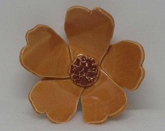 Pumpkin Porcelain Handbuilt Flower Decor