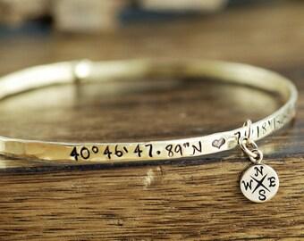 Custom Coordinate Bangle Bracelet, Longitude Latitude Bracelets, Location Bracelet, Graduation Gift, Personalized Bracelet, GPS Bracelet