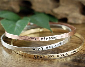 Mantra Bracelets, Stackable Cuff Bracelets, Personalized Bangle Bracelet, Gift for Mom, Custom Bangle Bracelet, Mothers Bracelet