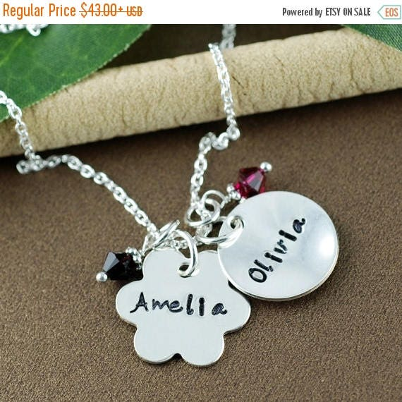 15% OFF SALE Personalized Flower Necklace | Hand Stamped Mommy Jewelry | Personalized Name Necklace | Mommy Necklace | Flower Girl Jewelry |
