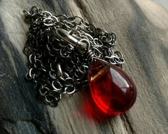 Sterling silver and smooth red glass briolette necklace - handmade jewelry