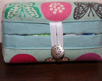 Tissue Holder-Butterflies Bees and Circles on Turquoise