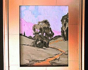 Framed Impressionist Painting Plein Air Landscape California Eucalyptus Art Lynne French 8x10