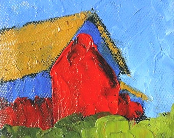Miniature Impressionist Oil Painting 4x4 Plein Air California FARM BARN Salinas Landscape Lynne French Art
