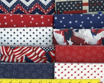 Red White and Blue Patriotic Jelly Roll 40 - 2 1/2 inch strips - new combination