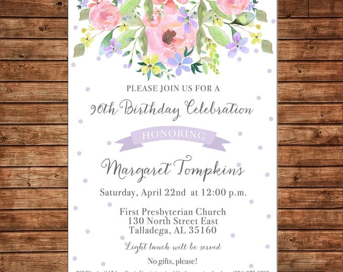 Girl Baby Wedding Bridal Bride Tea Shower Birthday Party Bouquet Purple Floral Watercolor Flowers Polka Dots Invitation - DIGITAL FILE