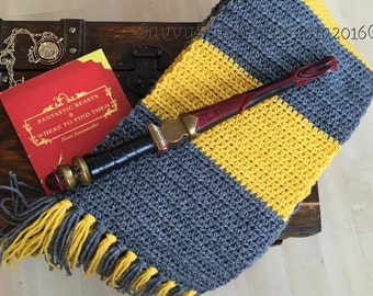 NEWT Scamander Inspired SCARF HUFFLEPUFF Vintage 1920's Harry Potter Hogwarts Scarves Fantastic Beasts & Where to Find Them Costume Cosplay