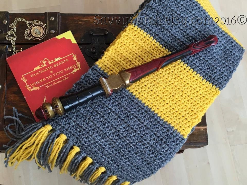 Hufflepuff Scarf Knitting Pattern : NEWT Scamander Inspired SCARF HUFFLEPUFF Vintage 1920s