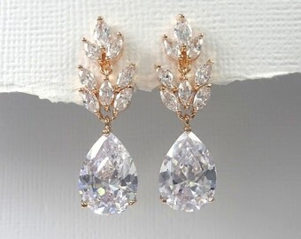Bridesmaid Earrings, Rose Gold Earrings, Clear Crystal Earrings, Wedding Earrings, Bridal Earrings, Rose Gold Bridal Earrings