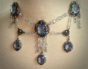 Deco Light Sparkling Sapphire Regal Necklace and earrings set