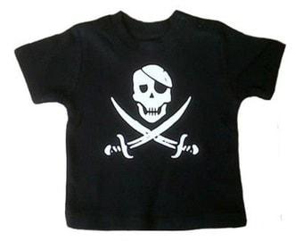 Pirate Skull Print Baby T-shirt, Goth, Punk, Rocker, Baby Gift