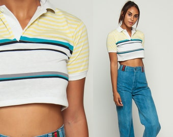 Striped Crop Top Polo Shirt Short Sleeve Shirt 80s T Shirt Grunge Top 1980s White Yellow Blue Hipster Retro Tee Vintage Extra Small xs