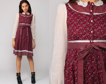 Gunne Sax Dress 70s Mini Prairie Calico FLORAL Bohemian LACE COLLAR Button Up 1970s Boho Hippie Burgundy Red Print Vintage Extra Small xs