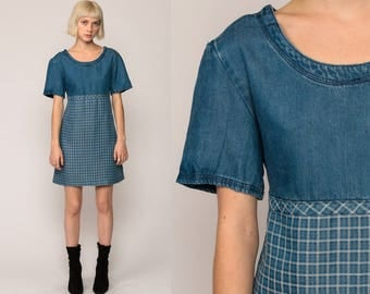 90s Babydoll Dress Denim Dress GRUNGE Mini PLAID Jean Vintage Empire Waist Button Back Short Sleeve Blue MiniDress Small Medium