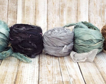 Chiffon Ribbon, Recycled Silk Sari Chiffon Ribbon, Tiebacks, Baby Photography Prop, Wedding Invitations, Bridal Showers, Flowers, Set 1 50yd
