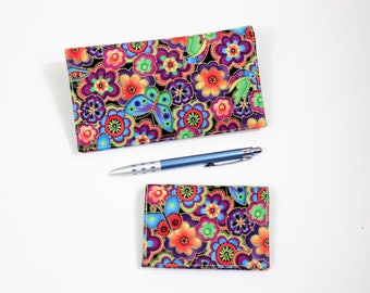 RFID Lined Bright Floral Card Case, with Duplicate Checkbook Cover, Pen Holder, Laurel Burch Check Book and Business card Case, Cheque Book
