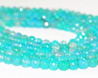 """7"""" Gemstone STRAND - Agate Beads - 6mm Faceted Rounds - Soft Aqua Blue and Teal Green (7"""" strand ~30 beads) - str1211"""